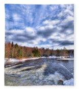 Clouds Above The Lock And Dam Fleece Blanket