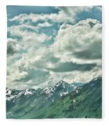 Clouds Alaska Mtns  Fleece Blanket