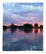 Clouds And Sunset Reflection In Prosser Fleece Blanket