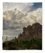 Clouds Bubbling Over The Superstitions  Fleece Blanket