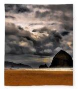 Clouds Over Cannon Beach Fleece Blanket