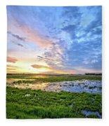 Clouds Over The Marsh 4 Fleece Blanket