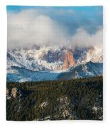 Clouds Receding On Pikes Peak Fleece Blanket