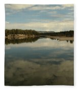 Clouds Reflecting In An Alpine Lake.  Fleece Blanket