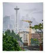 Cloudy And Foggy Day With Seattle Skyline Fleece Blanket