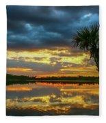 Cloudy Lake Sunset Fleece Blanket
