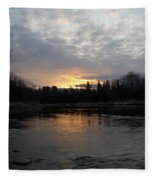 Cloudy Mississippi River Sunrise Fleece Blanket