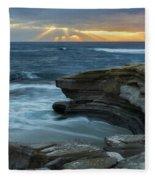 Cloudy Sunset At La Jolla Shores Beach Fleece Blanket