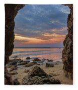 Cloudy Sunset At Low Tide Fleece Blanket