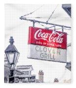 Clover Grill Coke Sign Fleece Blanket