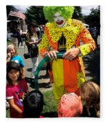 Clown Entertaining Kids Fleece Blanket
