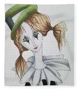 Green Hat Clown Fleece Blanket