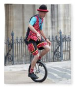 Clown Riding Unicycle In Town Fleece Blanket