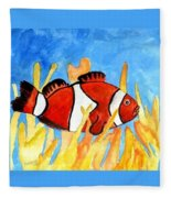 Clownfish Marine Sealife Art Print Fleece Blanket