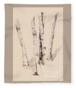 Clump Of Birch In Winter Fleece Blanket