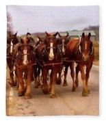 Clydesdale Amish Plow Team Fleece Blanket