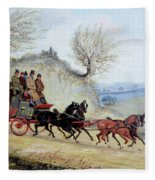 Coaching Oil Of A Royal Mail Coach Crossing Landscape Fleece Blanket