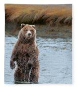 Coastal Brown Bears On Salmon Watch Fleece Blanket