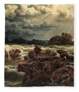 Coastal Landscape With Ships On The Horizon Fleece Blanket