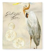 Coastal Waterways - Great Blue Heron Fleece Blanket