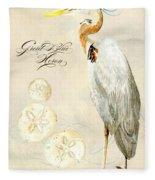 Coastal Waterways - Great Blue Heron Fleece Blanket