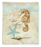 Coastal Waterways - Seahorse Rectangle 2 Fleece Blanket