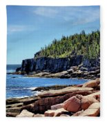 Coastline And Otter Cliff 3 Fleece Blanket