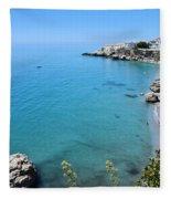 Coastline Of Nerja-spain Fleece Blanket