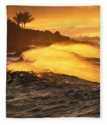 Coastline Sunset Fleece Blanket