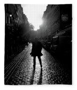 Cobblestone Path Home Paris Bw Fleece Blanket