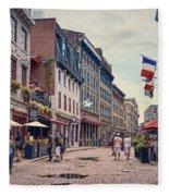Cobblestone Streets In Old Montreal  Fleece Blanket