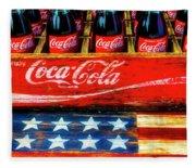 Coca Cola And Wooden American Flag Fleece Blanket
