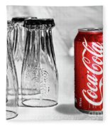 Coca-cola Glasses And Can - Selective Color By Kaye Menner Fleece Blanket