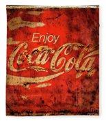 Coca Cola Square Aged Texture Black Border Fleece Blanket