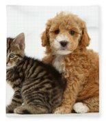 Cockapoo Puppy And Tabby Kitten Fleece Blanket