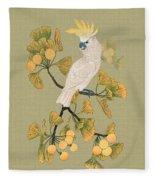 Cockatoo And Ginkgo Tree Fleece Blanket