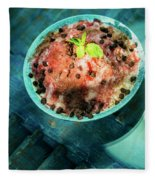 Coconut Milk Sorbet With Strawberry Sauce Vanilla Ice Cream Fleece Blanket