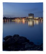 Coeur D Alene Skyline Night Fleece Blanket