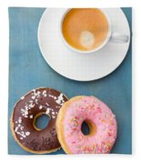Coffee And Baked Donuts Fleece Blanket
