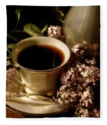 Coffee And Lilacs In The Morning Fleece Blanket