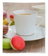 Coffee  And Macaroons Fleece Blanket