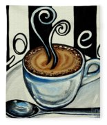 Coffee At The Cafe Fleece Blanket