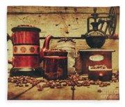 Coffee Bean Grinder Beside Old Pot Fleece Blanket