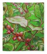 Coffee Cherries Fleece Blanket