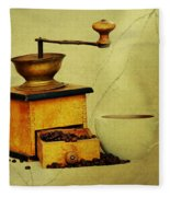 Coffee Mill And Cup Of Hot Black Coffee Fleece Blanket
