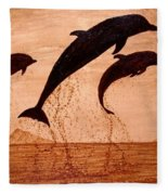 Coffee Painting Dolphins Playing Fleece Blanket