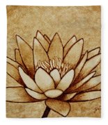 Coffee Painting Water Lilly Blooming Fleece Blanket