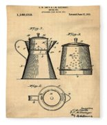 Coffee Pot Patent 1916 Sepia Fleece Blanket