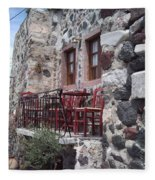 Coffee Shop In Santorini Fleece Blanket