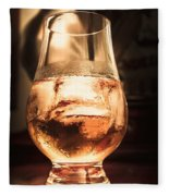 Cognac Glass On Bar Counter Fleece Blanket